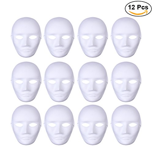 OULII Male Full Face DIY Mask Halloween Blank Painting Mask Cosplay for Masquerade Halloween Party Favors 12pcs - Blank Masquerade Mask