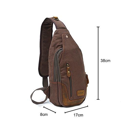 Zenness lienzo bolso único de alta capacidad de bolsa en el pecho (café) café