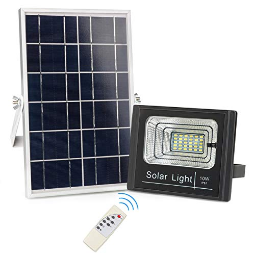 Solar Powered Flood Lights Outdoor, Remote Control Solar Light IP67 Waterproof, Dusk to Dawn Solar Security Floodlight Fixture for Yard, Barn, Garden, Pathway