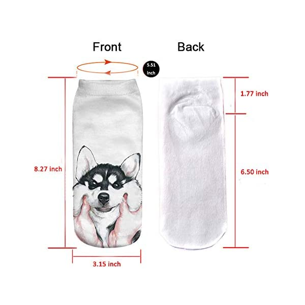 Angelteers Unisex's Funny 3D Husky Dog Ankle Socks Cute Low Cut Socks for Summer 5