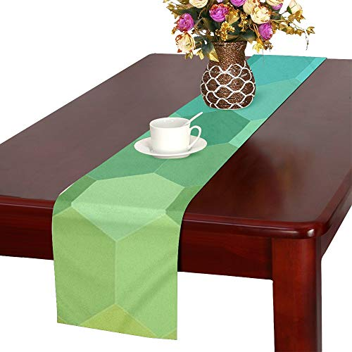 Jnseff Pattern Mosaic Tile Abstract Geometric Table Runner, Kitchen Dining Table Runner 16 X 72 Inch For Dinner Parties, Events, -