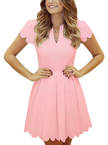 Jug&Po Women V Neck Sweet Scallop Pleated Skater Dress (Small, Pink)