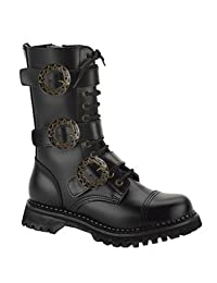 Mens Black Leather Steampunk Boot - 5