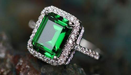 Italian CZ Women Ring Beautiful Statement Ring. Alpha Jewelry 4Ct Genuine Emerald Cut Cubic Zirconia Classic Ring