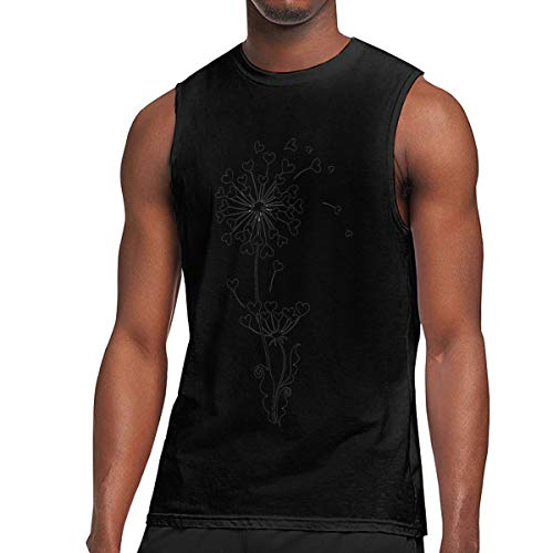(Men's Muscle Tank Top Softball Gym Training-Tech Dandelion Running Activewear Black)