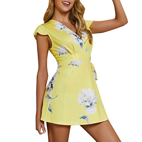 TnaIolral Ladies Summer Dresses Holiday Mini Floral V Neck Lace-up Beach Sundress Yellow