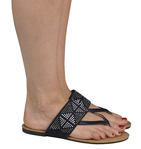 Peach Couture Womens Double Strap Pearl Studded Wide Band Slides Sandals Black 7 B(M) US by Peach Couture (Image #3)