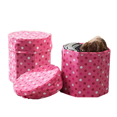 Dots Ornament - TINA'S HOME (2 Pack Kids Foot Rest Ottoman Storage | Christmas Ornament Storage - Pink - 12 inches - Pink dots