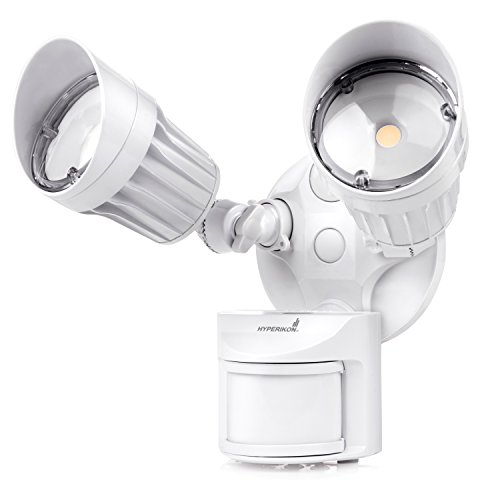 Hyperikon LED Outdoor Motion Sensor Flood Light, 20W, 2 Head, White, LED Security Light, (2 Light Outdoor Flood Light)