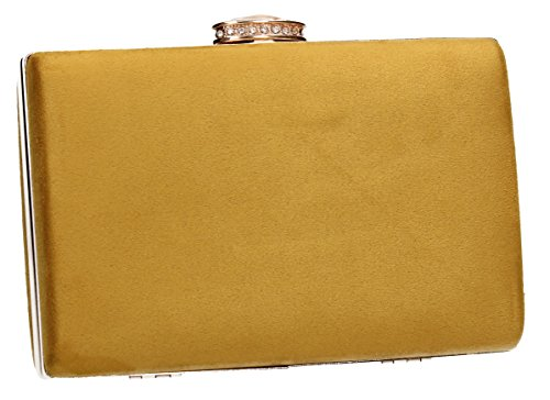 Surrey Velvet Clutch Bridal swankyswans Elegant Wedding Womens Party Box Mustard Prom Ladies Suede Bags Yellow rgTqHx5wr