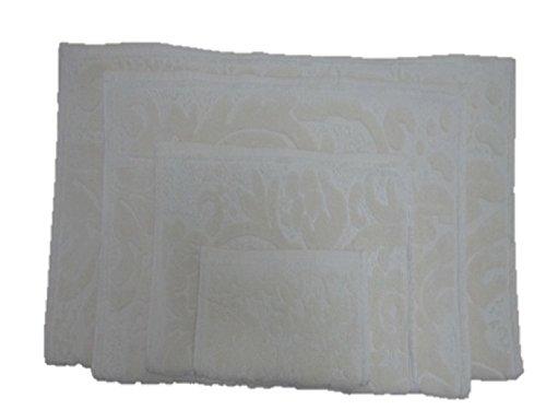 Maghso 4 Piece Jacquard Luxury Egyptian Cotton Bath Towel Set, Off White