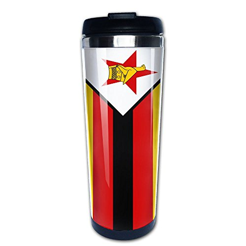 Flag Of Zimbabwe 400ml Stainless Steel Coffee Cup Tea Mug Travel Vacuum Insulated Mugs Hot Cold Tumbler With Liquid Tight Drink Bottle