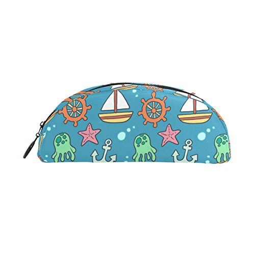 DEYYA Cute Boat and Anchor Pencil Case, Big Capacity Pen Bag Desk Organizer Semicircle Stationery Pouch Holder for School & Office ()