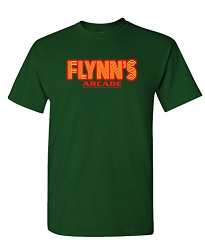 FLYNN'S ARCADE - movie retro novelty 80s - Mens Cotton T-Shirt, XL, Forest (80s Male)