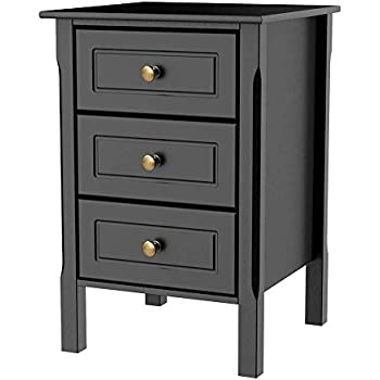 e92216abf05 Yaheetech Black Gloss 3 Drawers Bedside Table Cabinet Stylish Nightstands  with Silver Handle Bedroom Furniture
