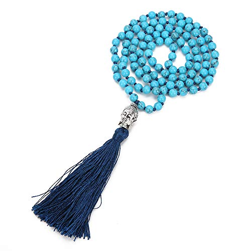 (VEINTI+1 Bohemia Style 6/8mm 108 Blue Turquoise with Buddha Head Tassles Pendant Women's Long Necklace Chain (6mm))