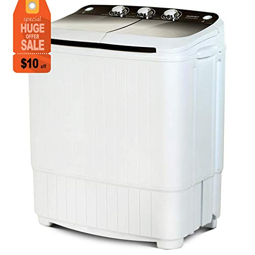 Portable Washing Machine, KUPPET 17lbs Compact Twin Tub Wash&Spin Combo for Apartment, Dorms, RVs, Camping and More, White&Brown