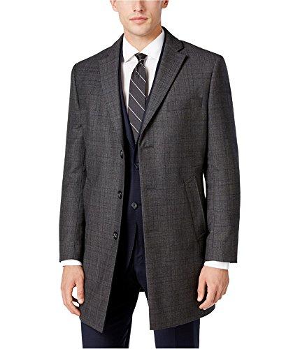 Calvin Klein Mens Plaid Overcoat Dress Grey (Plaid Overcoat)