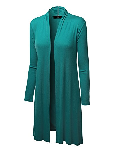 LL WSK1048 Womens Solid Long Sleeve Open Front Long Cardigan S JADE