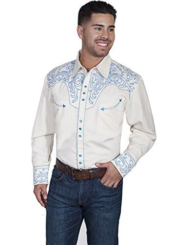 Scully Men's Embroidered Scroll Western Shirt, Electric Blue, Large from Scully