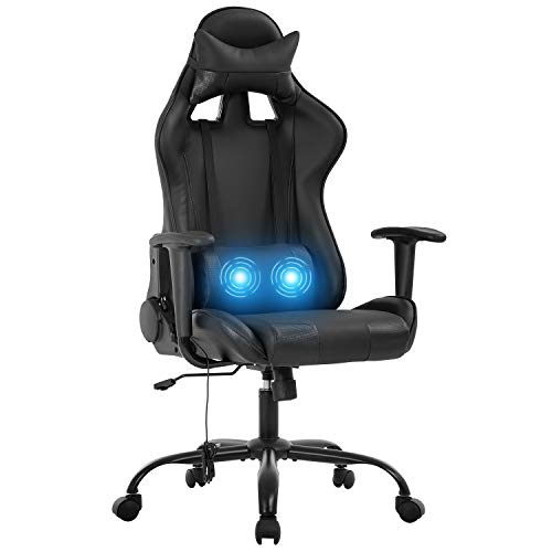 Gaming Chair Racing Office Chair Massage Swivel Chair High Back PU Leather Executive Rolling Task Adjustable Computer Chair with Lumbar Support Headrest Armrest Desk Chair for Adults (Black)