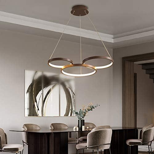 34W LED Decke Pendelleuchte Braun Ring Runden Kronleuchter Dimmbar mit Fernbedienung Modern Stilvoll Hängelampe für Schlafzimmer Wohnzimmer Küchen insel Esszimmer Esstisch Bar Büro Loft, 3 Ringe
