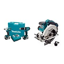 Makita LXT211 18-Volt LXT Lithium-Ion Cordless 2-Piece Combo Kit & Makita DSS611Z 18V LXT 6-1/2-Inch Circular Saw (Tool Only)