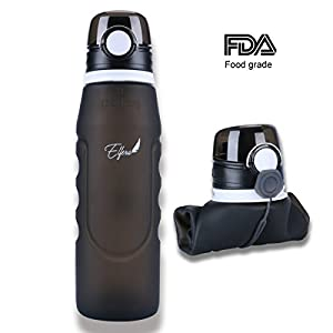 Elfera Collapsible Water Bottle, Leak-proof Silicone Sports Bottle-1000ml with BPA Free Medical Grade Silicone for Sports,Travel and Outdoor Use (black)