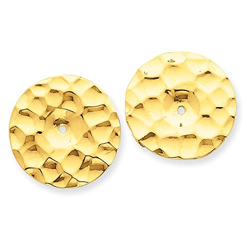 14K Yellow Gold Polished Hammered Disc Earring Jackets - (0.63 in x 0.67 in)
