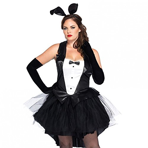 Sexy Tuxedo Costumes (Bunny Costume, Women Girl Sexy Cosplay Costume Dress Rabbit Tuxedo Bunny Tux Tail with Ear Headband (S,M,L,XL,XXL) (L))