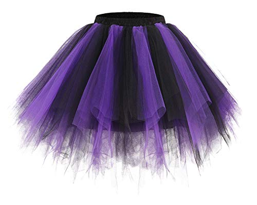 Bridesmay Women's Tutus Tulle Skirt 50s Vintage Petticoat Ballet Bubble Skirts Black-Purple M -