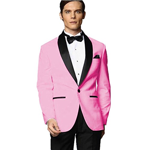 [MYS Men's Custom Made Groomsman Tuxedo Pink Suit Black Pants Bow Tie Set Size 42R] (Pink Man Suit)