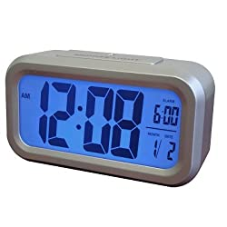 Westclox 70045 Smart Backlight Alarm Clock, Silver