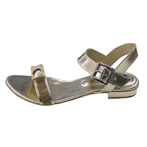 soirée Soirée san2020 W amp; Mesdames Gris sandales mariage plat talon Noir Or Diamante W femmes Doré bas taille chaussures TvIIxdw1qn