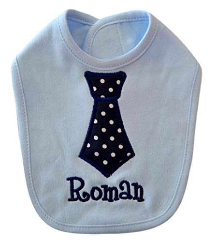 Personalized BIB for Baby Boys Embroidered with Your Custom Name with Fabric Tie Appliqué by Funny Girl Designs (Blue Polka Dot) ()