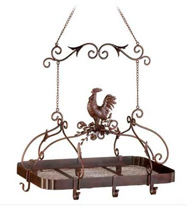 SKB Family Kitchen Rack Country Rooster Pot Hanging Iron Storage Pan Holder Pots Pans Home Organizer New Rustic Iron. (Rooster Hanging)