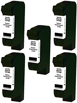SuppliesOutlet HP C6195A Compatible ZENITH QUICK DRY Inkjet Cartridge - Black - [5 Pack] For Color Copier 210, 1.5, 2.5, 350, 378, 380, 500, 710, 750, 830, 930, 960, 990, 1000, 1000P, 11k