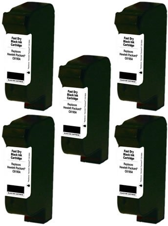 60b Bundle (SuppliesOutlet HP C6195A Compatible ZENITH QUICK DRY Inkjet Cartridge - Black - [5 Pack] For Color Copier 210, 1.5, 2.5, 350, 378, 380, 500, 710, 750, 830, 930, 960, 990, 1000, 1000P, 11k)