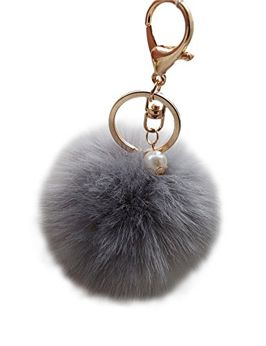 Faux Fur Ball Charm Key Chain with Artificial Pearl for Key Ring or Bag, Grey