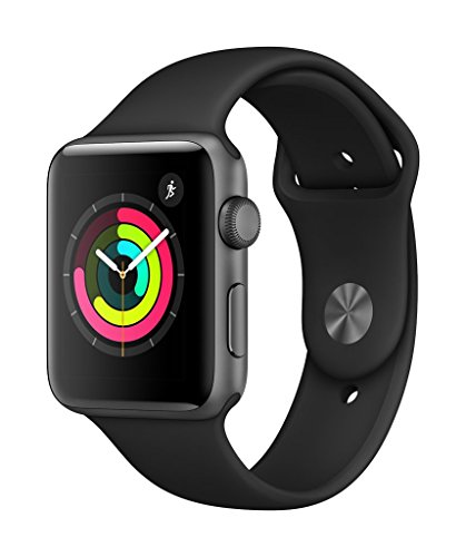 Apple Watch Series 3 (GPS, 42mm) - Space Gray Aluminium Case with Black Sport Band (Best Wearable Tech 2019)