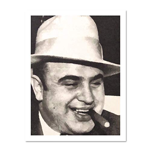 Doppelganger33 LTD Painting Portrait Gangster Al Capone Cigar Crime Large Framed Art Print Poster Wall Decor 18x24 inch Supplied Ready to Hang