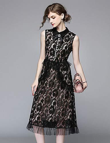 donna intagliato geometrico Black nero vestito Piccolo YFLTZ pizzo nappa Colletto sottile da in floreale xX4fvOqwPp