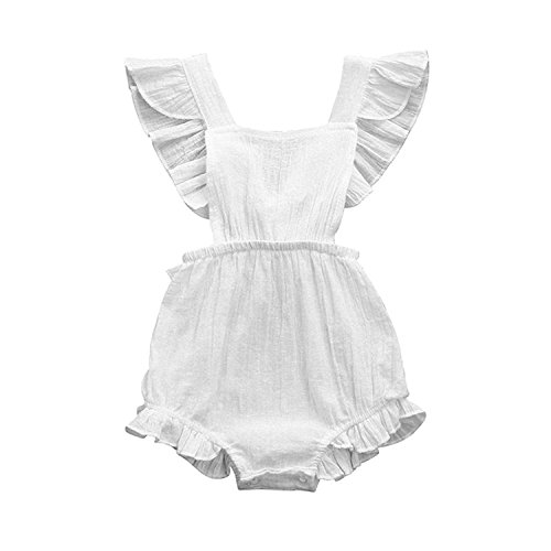 C&M Wodro Infant Baby Girl Bodysuit Sleeveless Ruffles Romper Sunsuit Outfit Princess Clothes (White, 12-18 ()