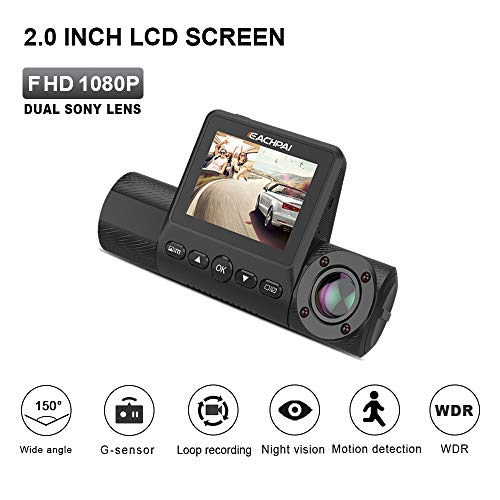 Dual Dash Cam, EACHPAI X200 Dash Camera for Cars 2 FHD 1080P Dashboard Camera 270 Rotation, Sony Sensor, IR Night Vision, Loop Recording,Parking Monitoring, Motion Detection,Super Capacitor