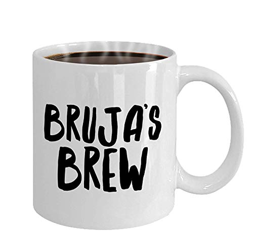 Brujas Brew Mug Spanish Witch Witchy Gifts Witch Mug Bruja Mug Halloween Party Dark Art Goth Gift Latina Witch Gift for Latinas 11 oz coffee mugs for men -