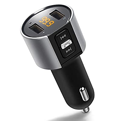 ZEEPORTE Bluetooth FM Transmitter for Car, Wireless Bluetooth FM Radio Adapter Car Kit with Hands-Free Calling and 2 Ports USB Charger 5V/2.4A&1A.