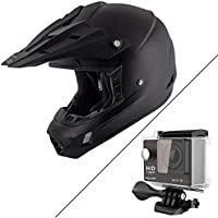 Nikko N716 Matte Black Motocross Helmet with Hawk H-10 Black Action Camera Bund - X-Large W/ H10-Black