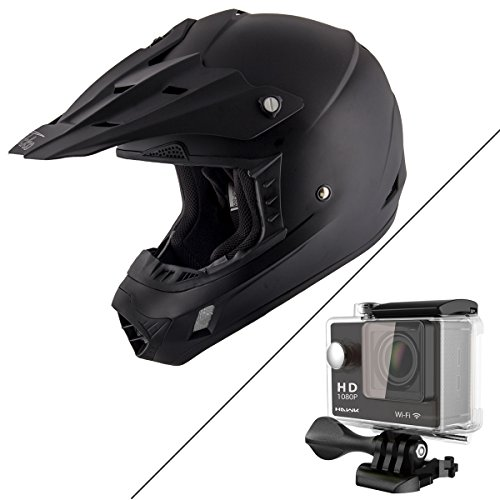 Nikko N716 Matte Black Motocross Helmet with Hawk H-10 Black Action Camera Bund - X-Large W/ H10-Black (Helmet Blk Xl)