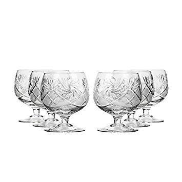 Set of 6 Neman Glassworks, 10-Oz Hand Made Vintage Russian Crystal Glasses, Brandy Cognac Snifters, Old-fashioned Glassware