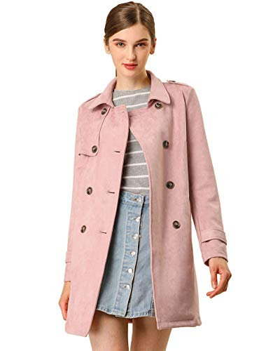 - Allegra K Women's Notched Lapel Double Breasted Faux Suede Trench Coat Jacket with Belt L Pink
